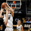 "University of Colorado's Rachel Hargis takes a shot over Valparaiso's Mallory Ladd on Friday, Nov. 25, during a basketball game against Valparaiso University at the Coors Event Center on the CU campus in Boulder. For more photos of the game go to  <a href=""http://www.dailycamera.com"">http://www.dailycamera.com</a><br /> Photo by Jeremy Papasso"
