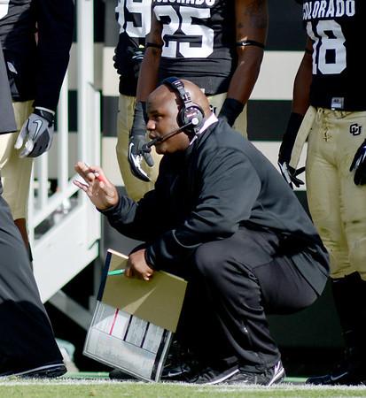 """OC Eric Bieniemy during the Washington game on Saturday.<br /> For more photos of the CU game, go to  <a href=""""http://www.dailycamera.com"""">http://www.dailycamera.com</a><br /> Cliff Grassmick / November 17, 2012"""