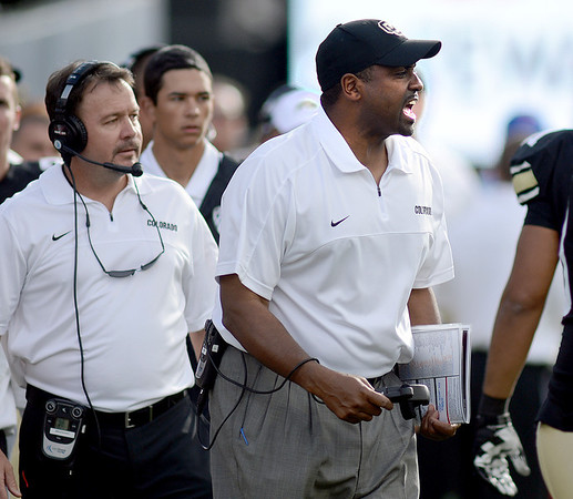 """Coach Jon Embree is upset after the CU turnover on a punt return.<br /> For more photos of the CU game, go to  <a href=""""http://www.dailycamera.com"""">http://www.dailycamera.com</a><br /> Cliff Grassmick / November 17, 2012"""