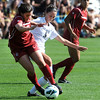 "Mariah Cameron, left, of WSU, and Darcy Jerman of CU, battle for possession.<br /> For more photos of the game, go to  <a href=""http://www.dailycamera.com"">http://www.dailycamera.com</a>.<br /> Cliff Grassmick  / September 30, 2012"