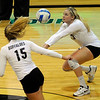 "University of Colorado's Jessica Aschenbrenner saves the ball during a volleyball game against the University of Washington on Saturday, Nov. 19, at the Coors Event Center on the CU campus in Boulder. For more photos of the game go to  <a href=""http://www.dailycamera.com"">http://www.dailycamera.com</a><br /> Jeremy Papasso/ Camera"
