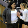 "University of Colorado Head Coach Liz Kritza talks with Nikki Lindow during a timeout during a volleyball game against the University of Washington on Saturday, Nov. 19, at the Coors Event Center on the CU campus in Boulder. For more photos of the game go to  <a href=""http://www.dailycamera.com"">http://www.dailycamera.com</a><br /> Jeremy Papasso/ Camera"