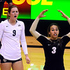 "University of Colorado's Megan Beckwith, No. 3, and Alyssa Valentine, No. 9, argue a call with the referee during a volleyball game against the University of Washington on Saturday, Nov. 19, at the Coors Event Center on the CU campus in Boulder. For more photos of the game go to  <a href=""http://www.dailycamera.com"">http://www.dailycamera.com</a><br /> Jeremy Papasso/ Camera"