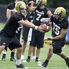 "University of Colorado quarterback Tyler Hansen (9), left, hands off the ball to wide receiver Jason Espinoza (15), right, at the first practice of the season at CU's practice field on Friday, Aug. 7, 2009. Watch the video at  <a href=""http://www.dailycamera.com"">http://www.dailycamera.com</a> (Photo by Mara Auster)."