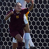 Amy Barczuk, top, of CU, and Amanda Nimtz  of ISU battle at the CU goal.<br /> Cliff Grassmick / September 27, 2009