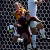 CU keeper Kara Linder, left,  and Amy Barczuk, keep Amanda Nimtz of ISU out of the goal on Sunday.<br /> Cliff Grassmick / September 27, 2009