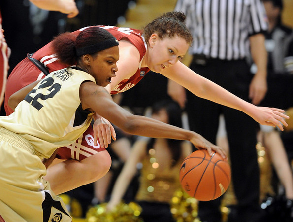 Brittany Spears, left, of Colorado, keeps the ball from Joanna McFarland of Oklahoma in the first half of the February 23, 2011 game in Boulder.<br /> Cliff Grassmick / February 23, 2011