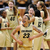 "Chucky Jeffery (23) celebrates with her Colorado teammates after the upset win over 16th-ranked Oklahoma.<br /> For more photos of the game, go to  <a href=""http://www.dailycamera.com"">http://www.dailycamera.com</a><br /> Cliff Grassmick / February 23, 2011"