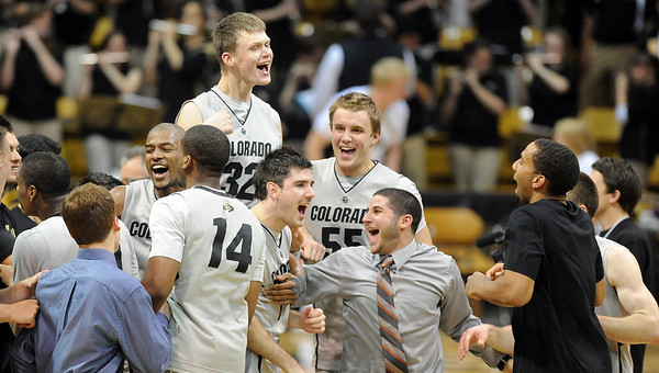 """The Colorado Buffaloes celebrate the win over Oklahoma State on Saturday.<br /> For more photos of the game, go to  <a href=""""http://www.dailycamera.com"""">http://www.dailycamera.com</a>.<br /> Cliff Grassmick / January 15, 2011"""