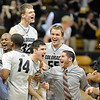 "The Colorado Buffaloes celebrate the win over Oklahoma State on Saturday.<br /> For more photos of the game, go to  <a href=""http://www.dailycamera.com"">http://www.dailycamera.com</a>.<br /> Cliff Grassmick / January 15, 2011"