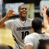 "Alec Burks  of CU celebrates the 75-71 win over Oklahoma State.<br /> For more photos of the game, go to  <a href=""http://www.dailycamera.com"">http://www.dailycamera.com</a>.<br /> Cliff Grassmick / January 15, 2011"