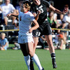 "Emily Lai, left, of Arizona, and Kate Russell of CU, connect on the header.<br /> For more photos of the game, go to  <a href=""http://www.dailycamera.com"">http://www.dailycamera.com</a><br /> Cliff Grassmick / September 30, 2011"