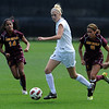 """Shaye Marshall, center, of CU, gets ahead of Nicole Acosta (14) and Aissa Sanchez, both of ASU.<br /> For more photos of the game, go to  <a href=""""http://www.dailycamera.com"""">http://www.dailycamera.com</a><br /> Cliff Grassmick / October 2, 2011"""