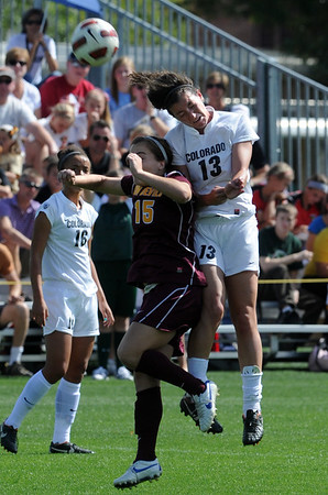 "Holland Crook (15) of ASU, and Kate Russell of CU, go up to connect on the header.<br /> For more photos of the game, go to  <a href=""http://www.dailycamera.com"">http://www.dailycamera.com</a><br /> Cliff Grassmick / October 2, 2011"