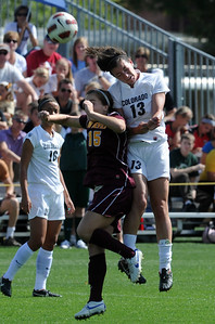 Holland Crook (15) of ASU, and Kate Russell of CU, go up to connect on the header. For more photos of the game, go to www.dailycamera.com Cliff Grassmick / October 2, 2011