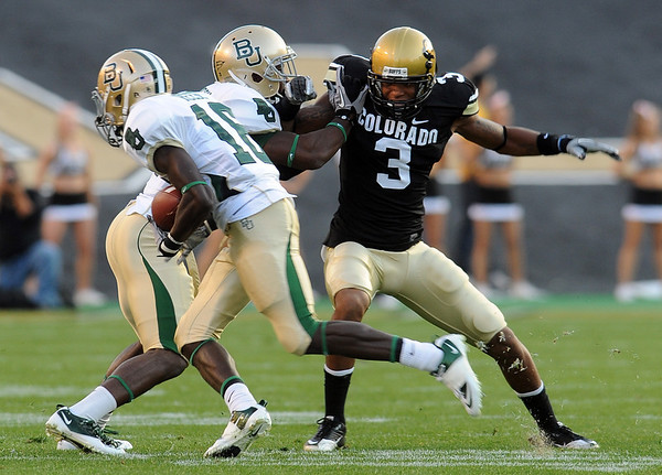 Jimmy Smith of CU tries to get off a block against Baylor.<br /> Cliff Grassmick / October 16, 2010