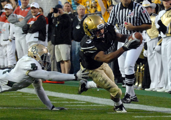 """Rodney Stewart of CU dives in to score against Baylor.<br /> For more photos of the game, go to  <a href=""""http://www.dailycamera.com"""">http://www.dailycamera.com</a><br /> Cliff Grassmick / October 16, 2010"""