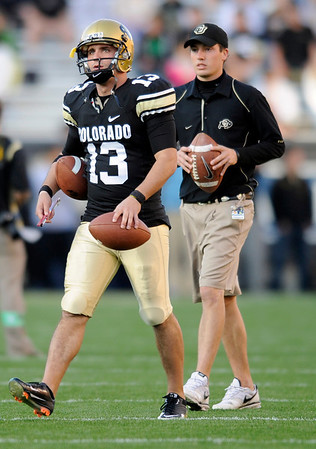 "University of Colorado kicker Aric Foodman warms up before the start of the football game against Baylor on Saturday, Oct. 16, at Folsom Field in Boulder.<br /> For more photos go to  <a href=""http://www.dailycamera.com"">http://www.dailycamera.com</a><br /> Photo by Jeremy Papasso/ Camera"