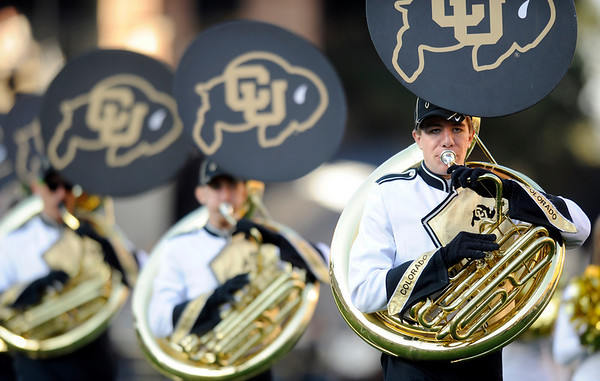 "The University of Colorado marching band performs before the start of the football game against Baylor on Saturday, Oct. 16, at Folsom Field in Boulder.<br /> For more photos go to  <a href=""http://www.dailycamera.com"">http://www.dailycamera.com</a><br /> Photo by Jeremy Papasso/ Camera"