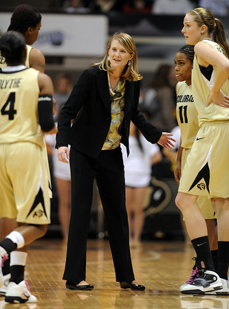 "Colorado coach, Linda Lappe, talks to her players in the Baylor game.<br /> For more photos of the game, go to  <a href=""http://www.dailycamera.com"">http://www.dailycamera.com</a>.<br /> Cliff Grassmick / March 5, 2011"