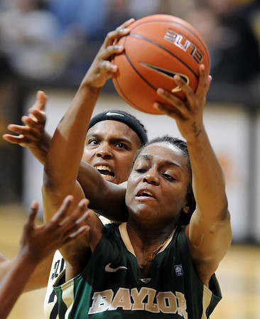 """Brittany Spears, back, of CU and Brooklyn of Baylor battle for a rebound.<br /> For more photos of the game, go to  <a href=""""http://www.dailycamera.com"""">http://www.dailycamera.com</a>.<br /> Cliff Grassmick / March 5, 2011"""