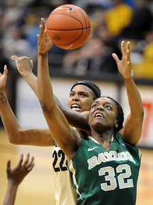 Brittany Spears, back, of CU and Brooklyn of Baylor battle for a rebound. For more photos of the game, go to www.dailycamera.com. Cliff Grassmick / March 5, 2011