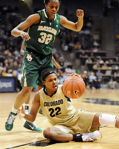 Brittany Spears of Colorado gets to the ball around  Brooklyn Pope of Baylor. For more photos of the game, go to www.dailycamera.com. Cliff Grassmick / March 5, 2011