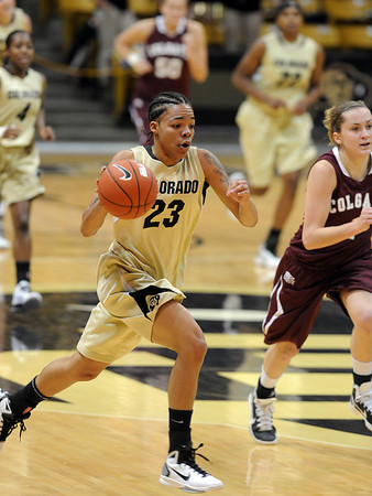 """Chucky Jeffery of Colorado on the fast break against Colgate.<br /> For more photos of the game, go to  <a href=""""http://www.dailycamera.com"""">http://www.dailycamera.com</a>.<br /> Cliff Grassmick / December 30, 2010"""