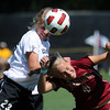 "Anne Stuller, left, of CU,  and Sam Harder of DU, get physical on the header.<br /> For more photos of the game, go to  <a href=""http://www.dailycamera.com"">http://www.dailycamera.com</a>.<br /> Cliff Grassmick / September 11, 2011"