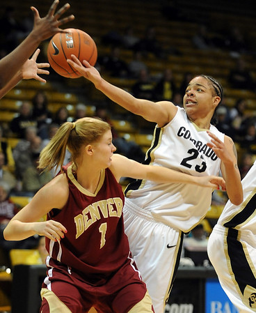 Chucky Jeffery, right, of CU, tries to get a rebound over Laura Palmere of DU.<br /> <br /> Cliff Grassmick / December 2, 2009