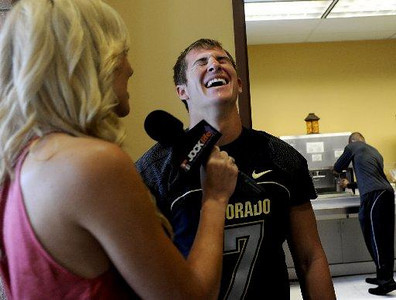 University of Colorado quarterback Cody Hawkins laughs during an interview with a reporter from Jock Life at the Media Day on Saturday, Aug. 8, 2009 (Photo by Mara Auster).