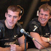 Colorado quarterbacks Tyler Hansen, left, and Cody Hawkins answer questions during CU football media day on Saturday (Photo by Cliff Grassmick).