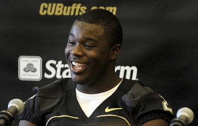 University of Colorado tailback Darrell Scott talks to reporters at the Media Day on Saturday, Aug. 8, 2009 (Photo by Mara Auster).