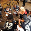 A variety of players meet the press on CU football media day (Photo by Cliff Grassmick).