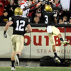 "University of Colorado cornerback Jimmy Smith, right, deflects a pass in the end zone intended for Georgia receiver A.J. Green in the second quarter of the football game against University of Georgia on Saturday, Oct. 2, at Folsom Field. For more photos go to  <a href=""http://www.dailycamera.com"">http://www.dailycamera.com</a><br /> Photo by Jeremy Papasso"