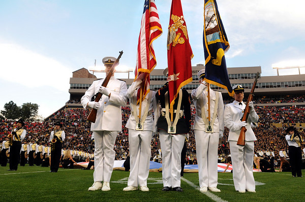 "University of Colorado ROTC students present the colors and flag prior to the start of the football game against University of Georgia on Saturday, Oct. 2, at Folsom Field. For more photos go to  <a href=""http://www.dailycamera.com"">http://www.dailycamera.com</a><br /> Photo by Jeremy Papasso"