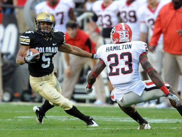 """Rodney Stewart had a big game against Georgia.<br /> For more photos from the game go to  <a href=""""http://www.dailycamera.com"""">http://www.dailycamera.com</a>.<br /> Cliff Grassmick / October 2, 2010"""