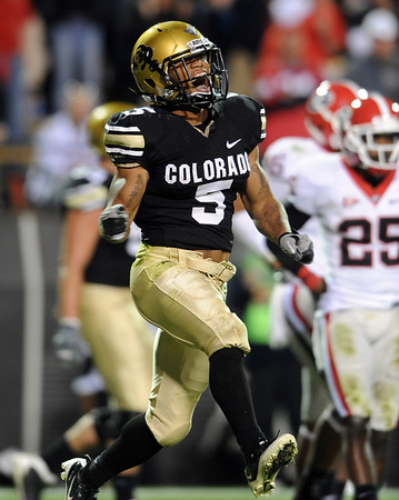 """Rodney Stewart of CU celebrates a TD against Georgia.<br /> For more photos from the game go to  <a href=""""http://www.dailycamera.com"""">http://www.dailycamera.com</a>.<br /> Cliff Grassmick / October 2, 2010"""