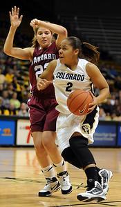 Bianca Smith of CU drives on Jackie Alemany of Harvard.  Cliff Grassmick /November 28, 2009