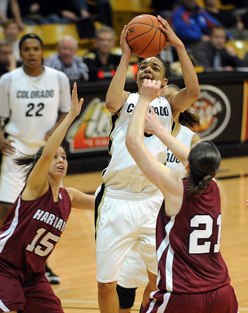 This shot by Chucky Jeffery of CU was the game winning shot against Harvard on Saturday.<br /> <br /> Cliff Grassmick /November 28, 2009