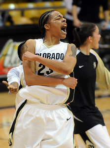 Chucky Jeffery of  celebrates a CU win after scoring critical points at the end, including the game winner.  Cliff Grassmick /November 28, 2009