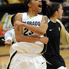 Chucky Jeffery of  celebrates a CU win after scoring critical points at the end, including the game winner.<br /> <br /> Cliff Grassmick /November 28, 2009
