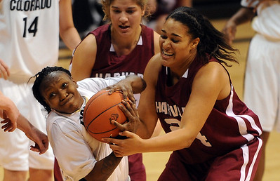 Whitney Houston, left, of CU, and Claire Wheeler of Harvard try to get control of the ball.  Cliff Grassmick /November 28, 2009