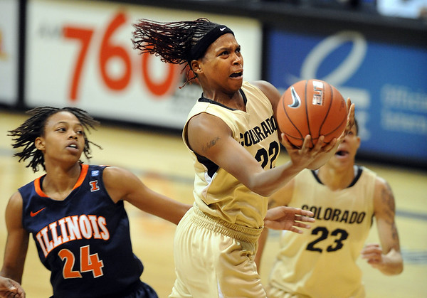 """Brittany Spears of Colorado scores past Adrienne Godbold of Illinois during the loss on Saturday.<br /> For more photos of the game, go to  <a href=""""http://www.dailycamera.com"""">http://www.dailycamera.com</a>.<br /> Cliff Grassmick / December 4, 2010"""