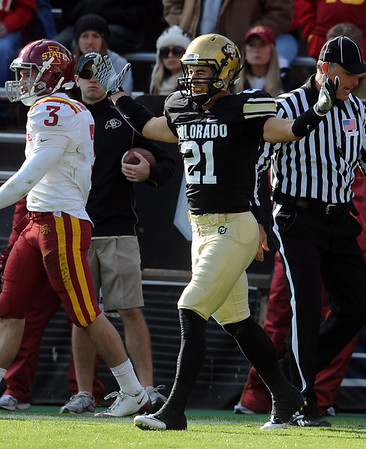 """Scotty McKnight is happy with his TD catch against Iowa State.<br /> For more photos of the game, go to  <a href=""""http://www.dailycamera.com"""">http://www.dailycamera.com</a><br /> Cliff Grassmick / November 13, 2010"""