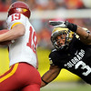 "University of Colorado cornerback Jimmy Smith makes a tackle on Iowa receiver Josh Lenz on Saturday, Nov. 13, during a football game against Iowa State at Folsom Field. CU defeated Iowa 34-14.<br /> For more photos go to  <a href=""http://www.dailycamera.com"">http://www.dailycamera.com</a><br /> Photo by Jeremy Papasso"