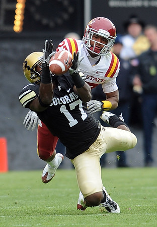 """Leonard Johnson of ISU is called for pass interference on Toney Clemons of CU.<br /> For more photos of the game, go to  <a href=""""http://www.dailycamera.com"""">http://www.dailycamera.com</a><br /> Cliff Grassmick / November 13, 2010"""
