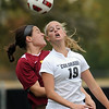 "Mary Kate McLaughlin, left, of Iowa State and Lauren Shaner of CU battle in front of the Cyclones' goal on Sunday.<br /> For more photos of the game, go to  <a href=""http://www.dailycamera.com"">http://www.dailycamera.com</a>.<br /> Cliff Grassmick / October 10, 2010"