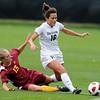 "Amanda Foulk of CU,  runs through Jessica Stewart of ISU, to get to the ball.<br /> For more photos of the game, go to  <a href=""http://www.dailycamera.com"">http://www.dailycamera.com</a>.<br /> Cliff Grassmick / October 10, 2010"