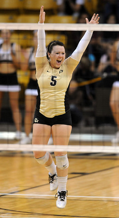 """Hannah Walker of CU, celebrates a point against ISU.<br /> For more photos of the game, go to  <a href=""""http://www.dailycamera.com"""">http://www.dailycamera.com</a><br /> Cliff Grassmick / October 20, 2010"""
